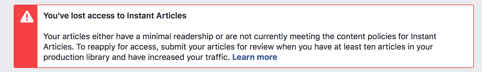 Facebook Instant Articles minimal traffic warning