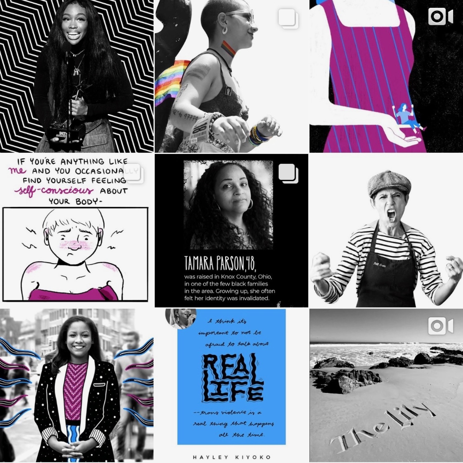 The Lily's Instagram grid, showing the clear black/white alternation