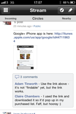 Google+ on iPhone