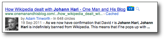 Google+ Circles in search