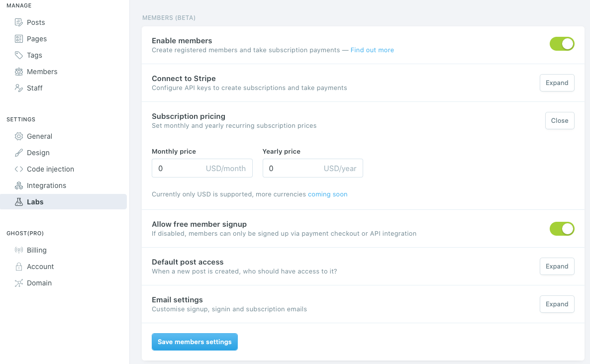 The membership management see settings in Ghost