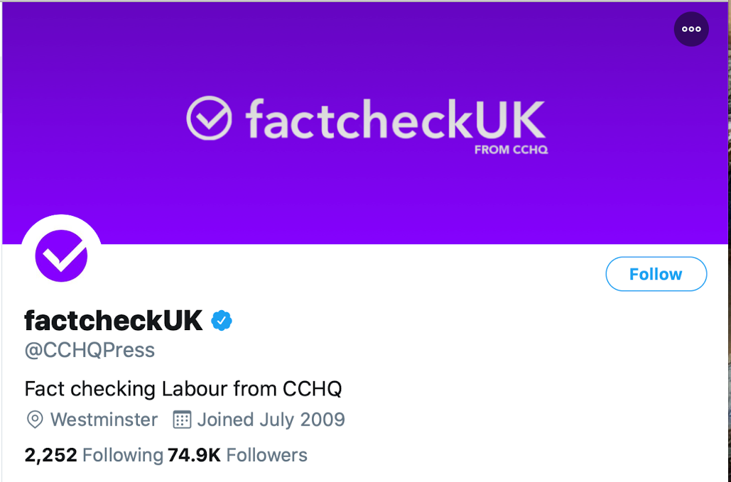 A screenshot of the Conservative HQ Twitter account masquerading as a fact check site