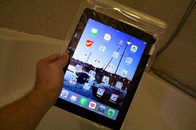 An iPad in a Bath condom